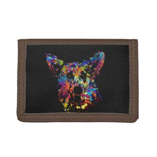Colorful  Corgi Portrait Trifold Wallet