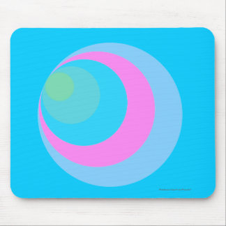 """""""Colorful 'Cornered' Circles"""" - Neon Blue Mouse Pad"""