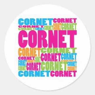 Colorful Cornet Classic Round Sticker