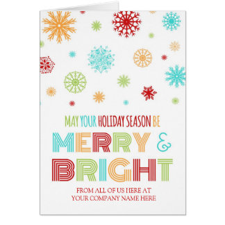 Colorful Corporate Merry & Bright Christmas Card