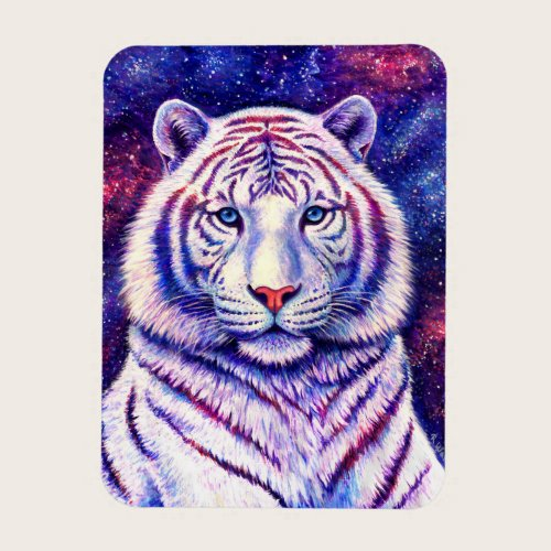 Colorful Cosmic Galaxy White Tiger Flexible Magnet