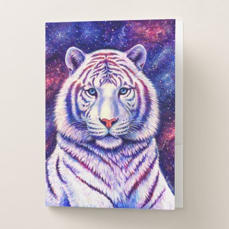 Colorful Cosmic Galaxy White Tiger Folder