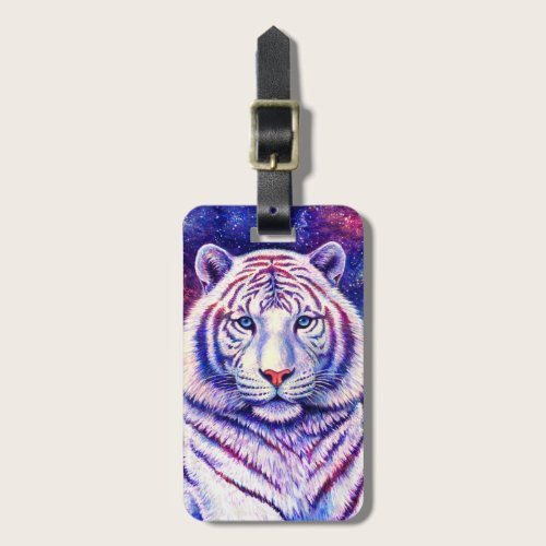 Colorful Cosmic Galaxy White Tiger Luggage Tag