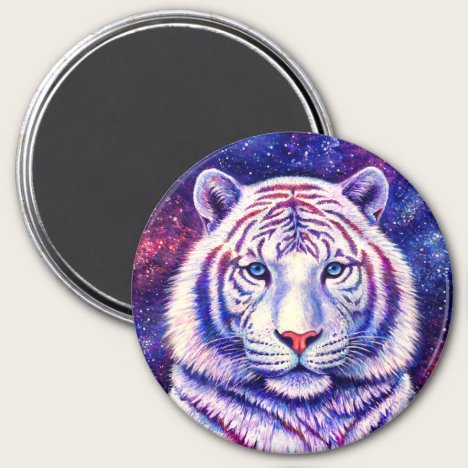 Colorful Cosmic Galaxy White Tiger Magnet