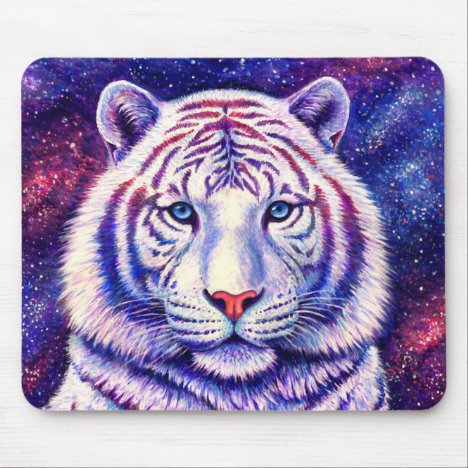 Colorful Cosmic Galaxy White Tiger Mouse Pad