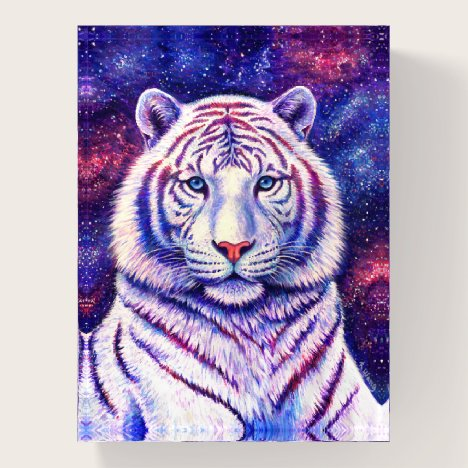 Colorful Cosmic Galaxy White Tiger Paperweight