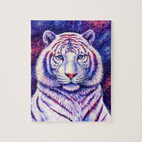 Colorful Cosmic Galaxy White Tiger Puzzle
