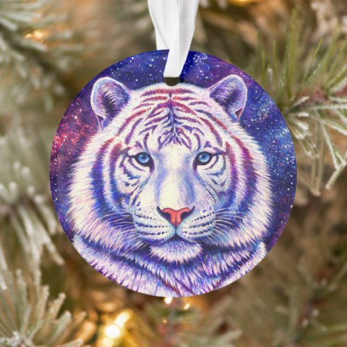 Colorful Cosmic White Tiger Acrylic Ornament