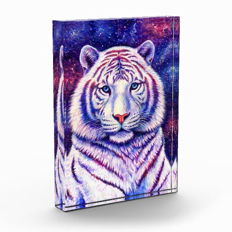 Colorful Cosmic White Tiger Acrylic Photo Block