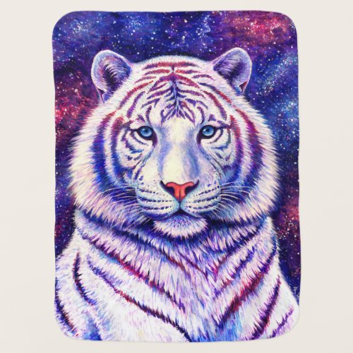 Colorful Cosmic White Tiger Baby Blanket