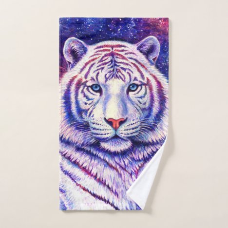 Colorful Cosmic White Tiger Bath Towel Set