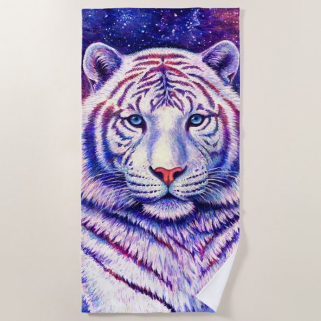 Colorful Cosmic White Tiger Beach Towel