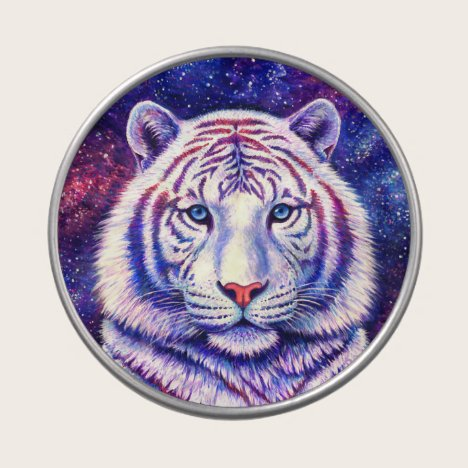Colorful Cosmic White Tiger Candy Tin