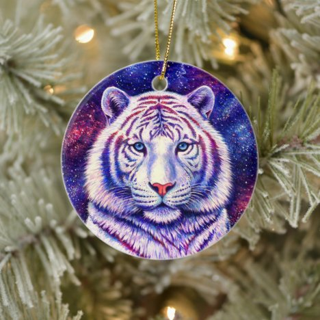 Colorful Cosmic White Tiger Ceramic Ornament