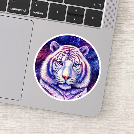 Colorful Cosmic White Tiger Circle Vinyl Sticker