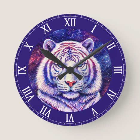 Colorful Cosmic White Tiger Clock