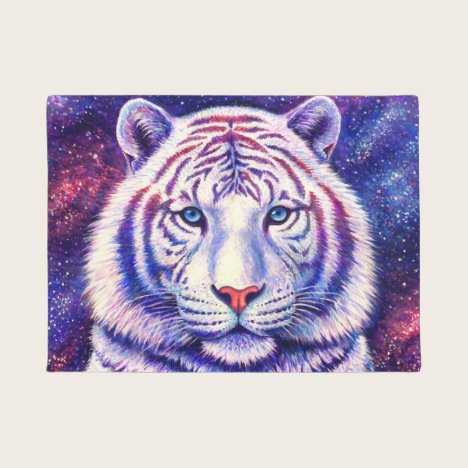 Colorful Cosmic White Tiger Door Mat