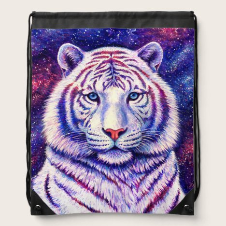 Colorful Cosmic White Tiger Drawstring Backpack