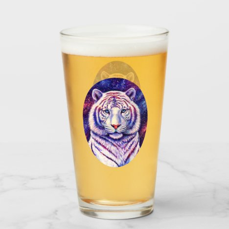 Colorful Cosmic White Tiger Drinking Glass Cup
