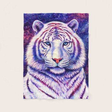 Colorful Cosmic White Tiger Fleece Blanket