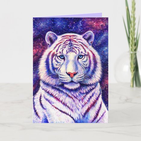 Colorful Cosmic White Tiger Greeting Card
