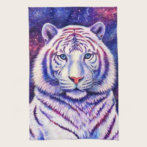 Colorful Cosmic White Tiger Kitchen Towels