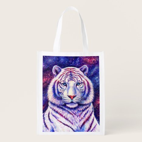 Colorful Cosmic White Tiger Reusable Grocery Bag