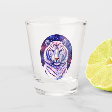 Colorful Cosmic White Tiger Shot Glass