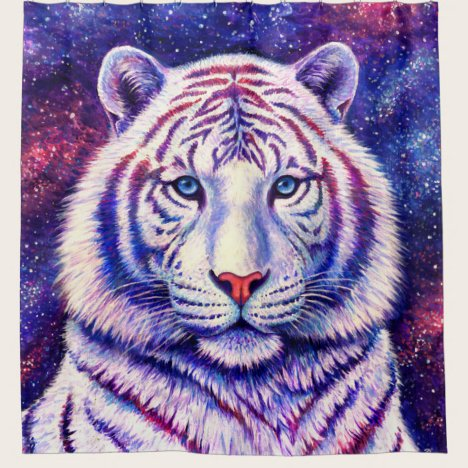 Colorful Cosmic White Tiger Shower Curtain