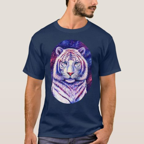 Colorful Cosmic White Tiger T-Shirt