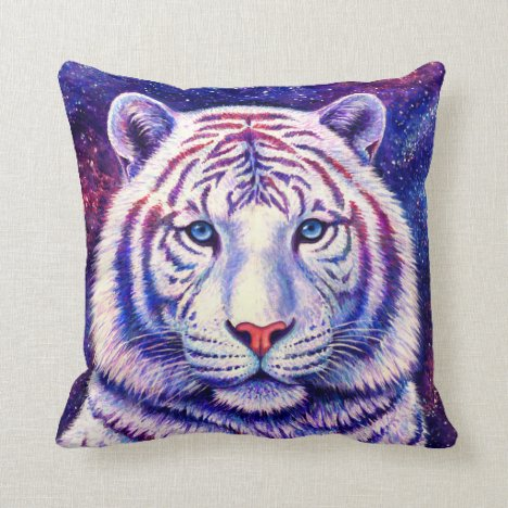 Colorful Cosmic White Tiger Throw Pillow