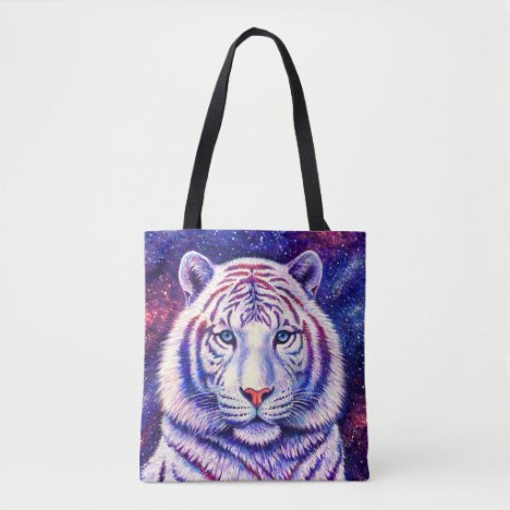 Colorful Cosmic White Tiger Tote Bag