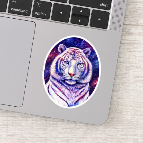Colorful Cosmic White Tiger Vinyl Sticker