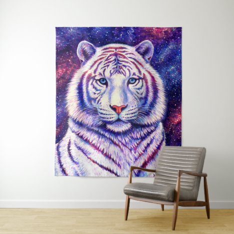 Colorful Cosmic White Tiger Wall Tapestry
