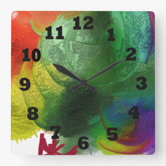 Colorful Cotton Candy Square Wall Clock