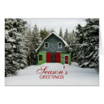 Colorful Country Barn Christmas Greeting Card