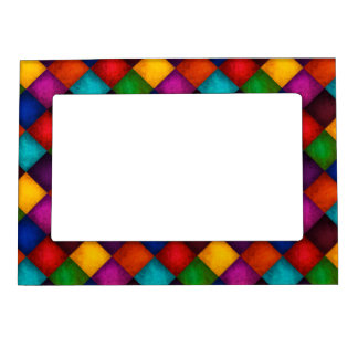 Colorful Country Checkered Patchwork Pattern Magnetic Picture Frame