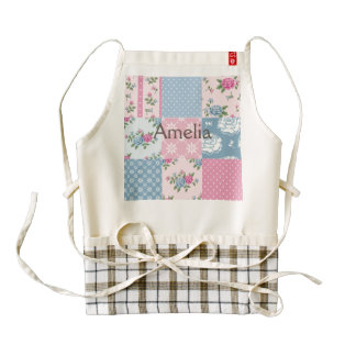 Colorful, country, chic, patch work,girly,cute,fun zazzle HEART apron