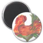 Colorful Country Crowing Rooster Art 2 Inch Round Magnet