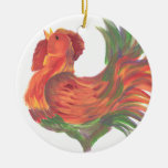 Colorful Country Crowing Rooster Double-Sided Ceramic Round Christmas Ornament