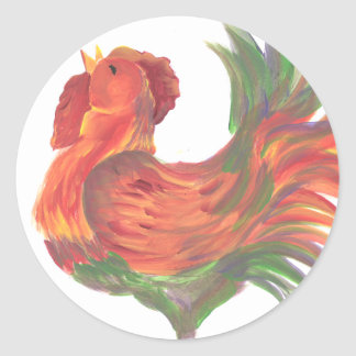 Colorful Country Crowing Rooster Round Sticker