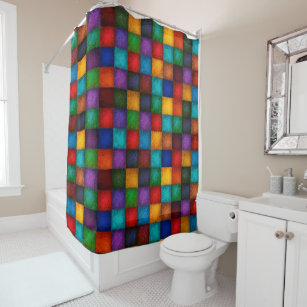 Colorful Country Patchwork Checkered Quilt Pattern Shower Curtain