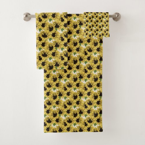 Colorful Country Sunflower Bath Towes and Washclot Bath Towel Set.Change the cream background color if you'd like and you can also change the flower size. Other products for your bath and other home areas in the design are also available.