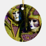 Colorful Couple Double-Sided Ceramic Round Christmas Ornament