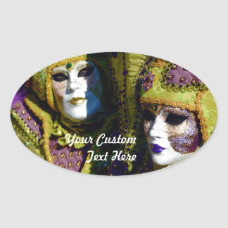 Colorful Couple Oval Sticker