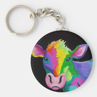 Colorful Cow Basic Round Button Keychain
