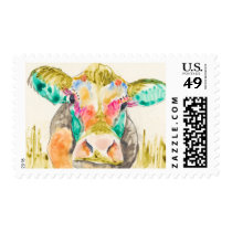 Colorful Cow Design Postage