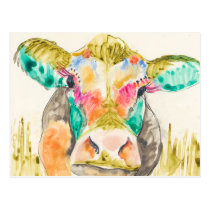 Colorful Cow Design Postcard