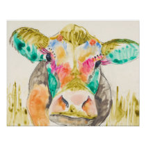 Colorful Cow Design Poster