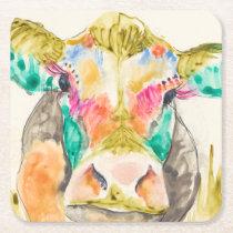 Colorful Cow Design Square Paper Coaster